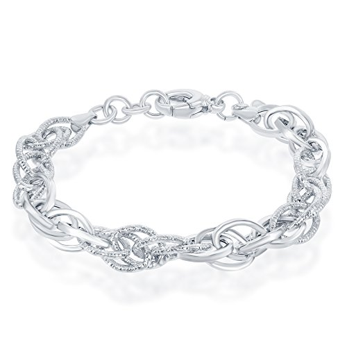 Sterling Silver Italian High Polish Alternating Polished and Diamond-Cut Oval Linked 7+1