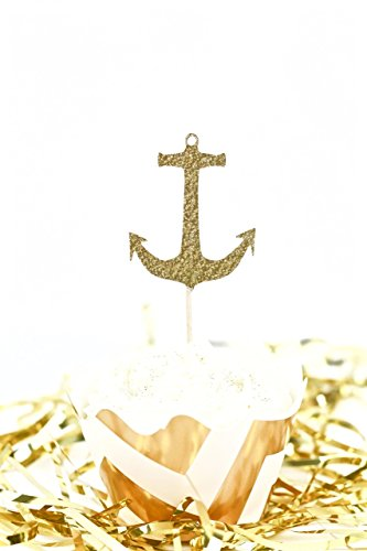 Anchor-Gold-Glitter-Cupcake-Toothpick-Toppers