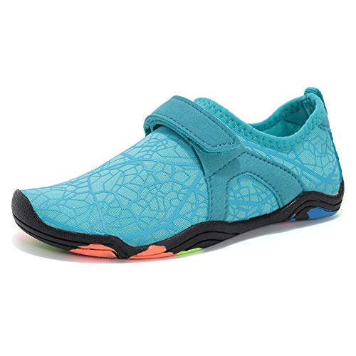FANTURE Girls & Boys Water Shoes Lightweight Comfort Sole Easy Walking Athletic Slip on Aqua Sock(Toddler/Little Kid/Big Kid)-W.Blue-35 (Kids Toe Shoes)