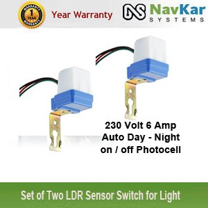 NAVKAR Set of two 230 Volt 6 Amp Auto Day/Night On & Off Photocell ...