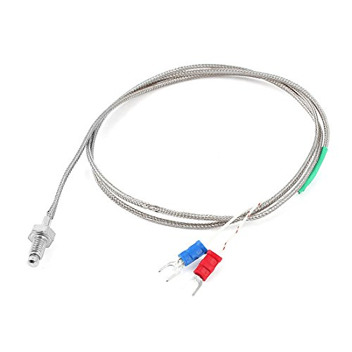 3.3Ft Length Braid Shield K Type 0-400C 6mm Thread Thermocouple Sensor