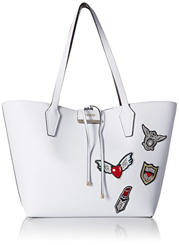 GUESS Bobbi Double Faced Pebble Inside Out Tote, White/Black