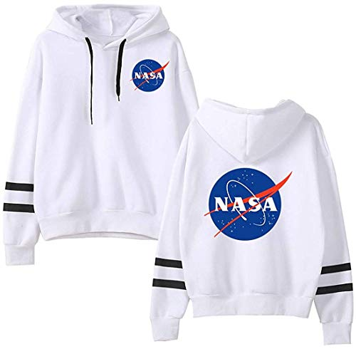 (EmilyLe Women NASA Logo Hoodie National Space Administration Fashion Sweatshirt (XL,White-3))