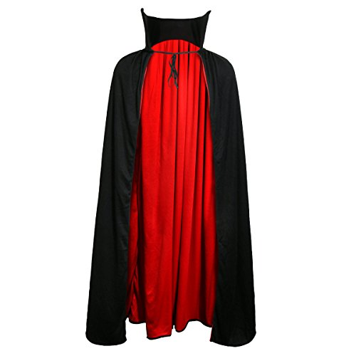 Halloween Vampire Cape (Adult Devil Vampire Costume Cloak Medieval Long Black Red Reversible Halloween Cosplay Cape (L 48