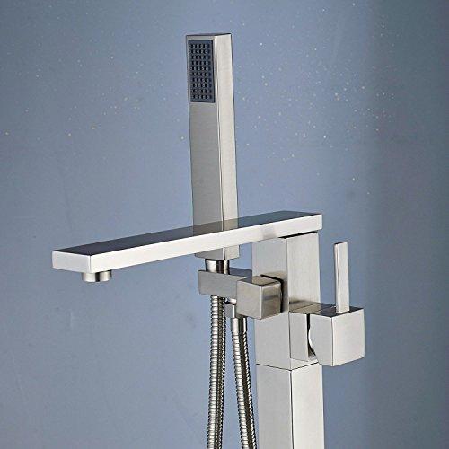 Senlesen Free Standing Tub Filler Stainless Steel Floor Mount Bathtub Shower Faucet with Handhel ...