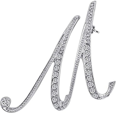 ANTOLL1Pcs A to Z 26 English Letters Silver Plated Metal Clear AAA+ Crystal Lapel Pin Brooches Collar (1pcs-M)