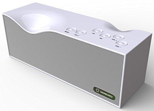 Soundance® Bluetooth -Lautsprecher mit FM Radio, eingebautem Mikrofon und LED-Anzeigeunterstützt 3,5 mm Audio- Line-In , TF Card / Micro SD-Karte und USB-Eingang , Modell B1 (Weiß)