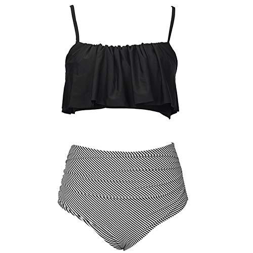 Small Oranges High-Waisted Bikini Set Women Summer Sexy Swimsuit Ladies Beach Bathing Suit Swimwear,Black,XXL