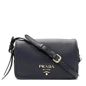 Prada Womens Vitello Phenix Shoulder Flap Navy Blue Leather Crossbody Bag 1BD163 (Navy Blue)