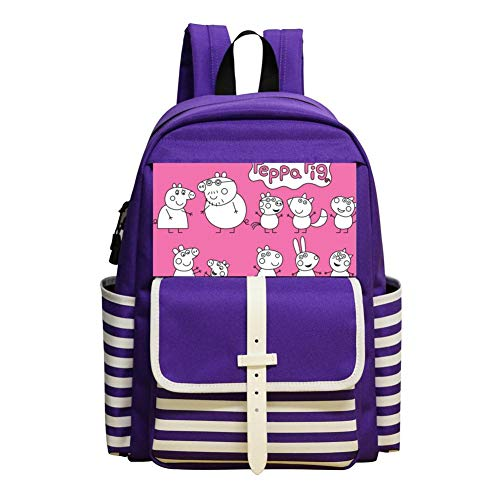 School Backpacks Pep-pa Pig Purple Kid Shoulder Bags -