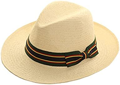 Straw Crushable Foldable Summer Fedora Panama Trilby HAT with Wide Bow Trim Band