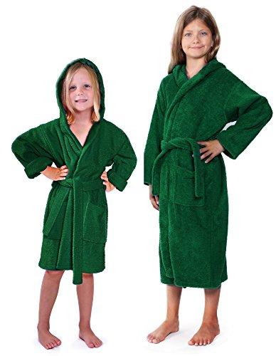 Indulge Girls 100% Cotton Terry Hooded Bathrobe Made In Turkey (Green, (Loop Terry Robe)