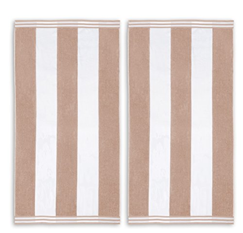 2 Piece Brown Stripe Beach Towel Set, Taupe Jacquard Vertical Stripes Beachy Rubgy Lines Swimming Picnic Cabana Striped Ocean Lake Stylish Over sized Luxurious Large Soft, Cotton - Ocean Beach Stripe