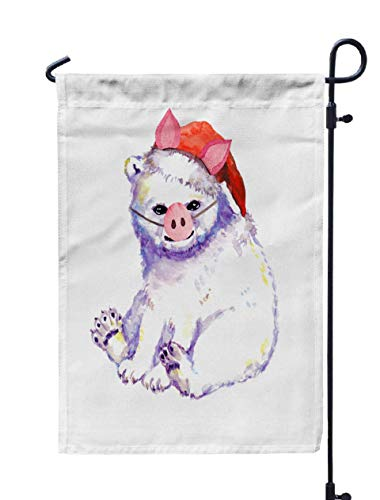 HerysTa Spring Garden Flag, Decorative Yard Farmhouse Holiday Banner 12 x 18 inches Funny White Bear Animal Pig Nose Ears Red Santa Hat Unique Christmas Watercolor Double-Sided Seasonal Garden -