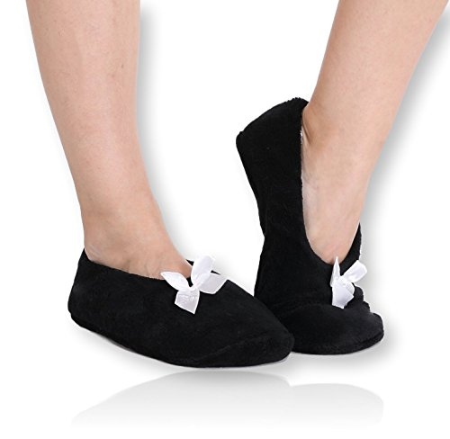 Pembrook Fuzzy Soft Coral Fleece Slippers – Black - Medium (7-8) – Ballet Style with Non-Skid Sole – Faux Shearling Lining - Great Plush Slip On House Slippers for adults, women, girls