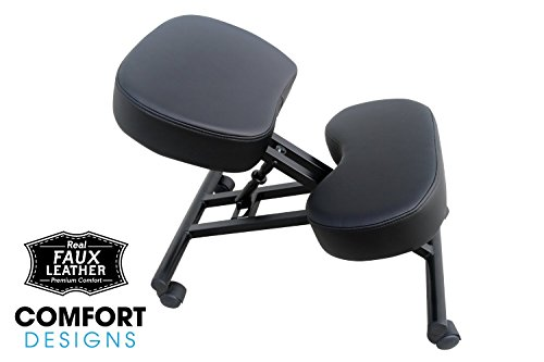 Ergonomic Kneeling Chair by Comfort Designs | Posture Chair Extra Soft Padding Adjustable Office Kneeling Chair | Ergonomic Kneeling Chair for Health and Posture | Warranty Included (Faux Leather) Photo #5