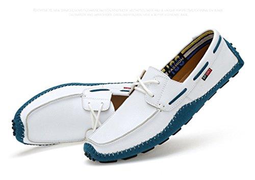 White glisser hommes Mocassins en cuir des véritable taille grande conduite sur Lumino chaussures Style1 Loafers flats homme la plats XRfTxPqw