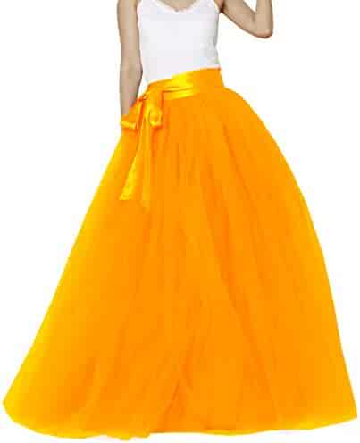 Lisong Women Floor Length Bowknot 5-Layered Tulle Party Evening Tutu Skirt 841d6077b