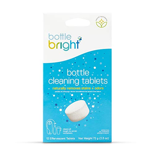 BOTTLE BRIGHT unisex-adult Bottle Bright (12 Tablets) - All Natural, Biodegradable, Chlorine & Odor Free Water Bottle & Hydration Pack Cleaning Tablets Clear