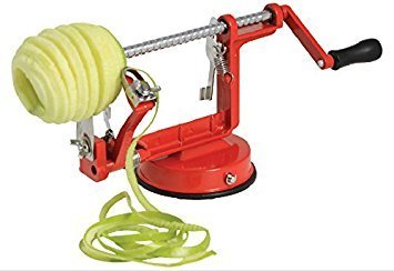 Hophia Quick Triple Feature Heavy Duty Apple Peeler, Slicer & Corer - Professional Grade (Red)
