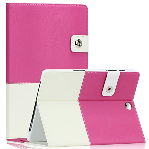 Samsung Galaxy Tab S2 9.7 Case - SAWE Hybrid Folio Case for Galaxy Tab S2 9.7 - Smart Cover with Auto Sleep/Wake Feature PU Leather Cover w/ Stand for Tab S2 9.7 Inch Tablet SM-T810 T815 - Hot Pink