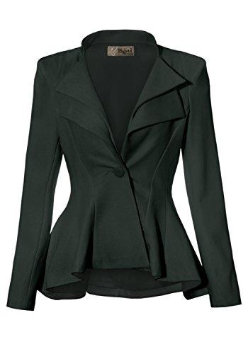 Women Double Notch Lapel Office Blazer JK43864 1073T Green 1X
