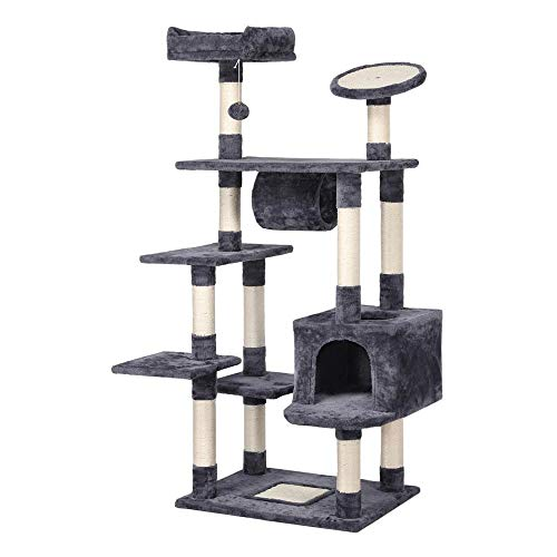 Yaheetech 62in Cat Tree Condo with Scratching Post Plush Perch and Tunnel