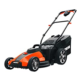 "Worx WG744 17-inch 2x20V (4.0Ah) Cordless Lawn Mower 108 The 17"" Mower includes 2 removable 20V 4. 0Ah batteries that delivers 40V power and performance Patented intellicut provides additional torque on demand and the ability to conserve battery when desired. Premium 2-in-1 design that mulches,  bags and rear discharges and includes a quick single lever cutting Height adjustment."
