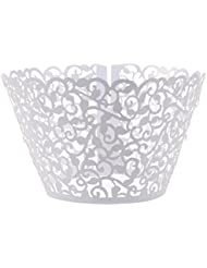 Cosmos ® 24 Pcs Flower Vine Filigree Cutout Lace Cupcake Wrapper Wraps Liner Wedding Party Cake Decoration (White)
