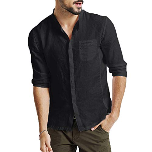 TANGSen_Mens Three Quarter Vintage Linen Tops Casual Fashion Loose Short Sleeve Retro T Shirts Tops Blouse Black (Best Price Mens Aftershave)