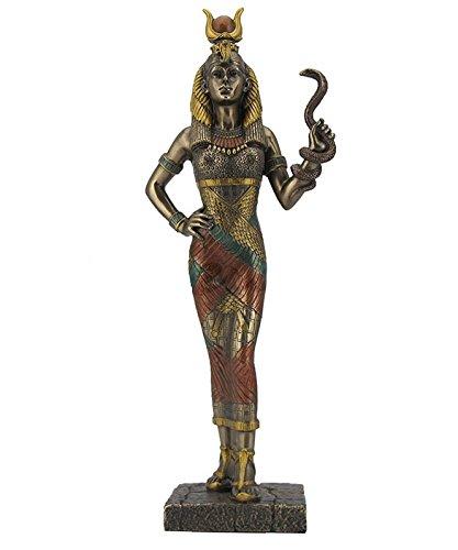 11.5 Egyptian Goddess Hathor Holding Snake Egypt Decor Statue Sculpture Figure