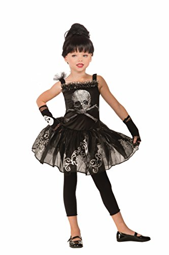 Forum Novelties Kids Skull Ballerina Costume, Black, (Dead Dancer Halloween Costume)