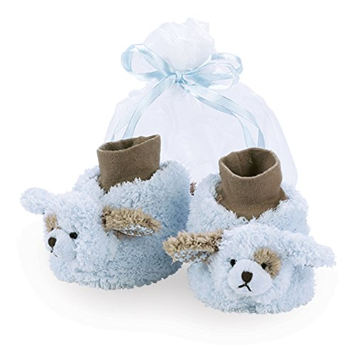 Bearington Baby Waggles Plush Stuffed Animal Blue Puppy Dog Sock Top Slipper Booties (Puppy Infant)