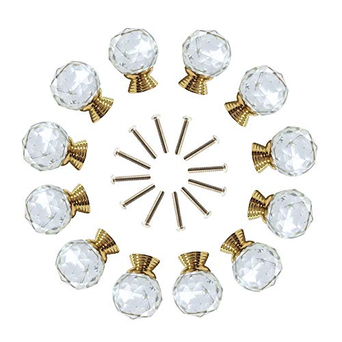 ANJUU 12 Pcs 30mm Round Shape Crystal Glass Cabinet Knobs with Gold Base with Screws Drawer Knob Pull Handle Used for Kitchen, Dresser, Door, Cupboard (Clear)