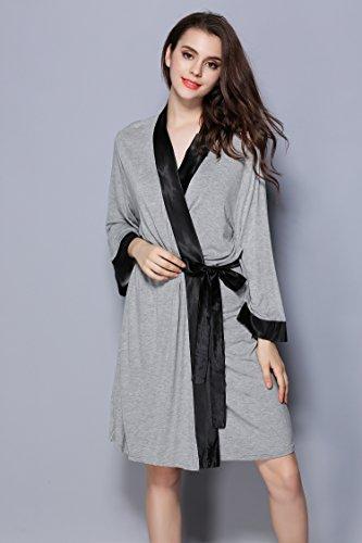 le donne Sleepwear traspirante Accappatoio JDS Grigio Breve per modale Robe Accappatoio Fortuning's S1Zgqz