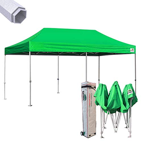 Eurmax New 10x20 Ft Premium Ez Pop up Instant Canopy Wedding Party Tent Gazebo Shade Shelter Commercial grade Bonus Wheeled bag (Kelly green)