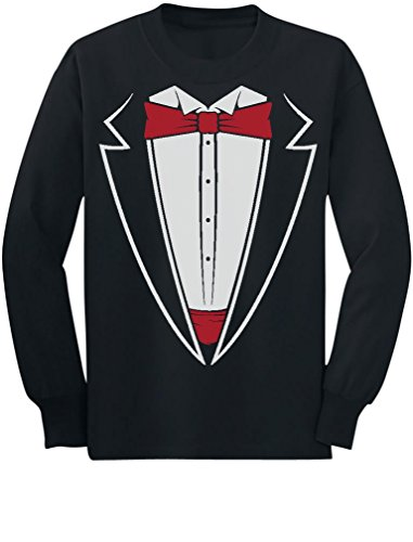 Tstars Tuxedo With Red Bow Tie Funny Toddler/Kids Long Sleeve T-Shirt 5/6 Black