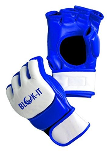 Mixed Martial Arts Fighting Gloves (Blok-iT: MMA Gloves for Mixed Martial Arts Sparring, Grappling, and Training (White & Blue, Small))