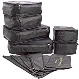 12 set Packing Cubes, Travel Organizers with Laundry Bag (Black, Large)
