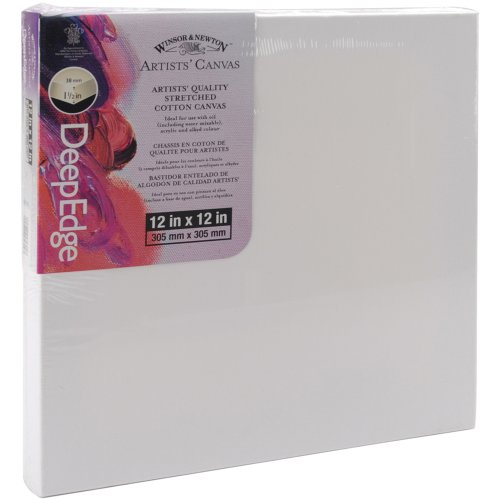 Winsor Newton 12-Inch by 12-Inch Artists Quality Deep Edge Stretched Canvas