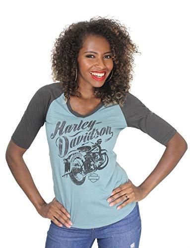 - Harley-Davidson Womens Frozen Storm Motorcycle Raglan V-Neck Blue Half Sleeve Shirt (Medium)