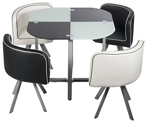 2016 BIG SALEMerax Best Selling 5 Pieces Dining Set Table With Glass Top And Sturdy Metal Legs4 Chairs Included
