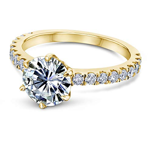 Kobelli 2-2/5ct.tw 6-Prong Solitaire Moissanite and Side Stone Classic Engagement Ring 14k Yellow Gold (DEF/VS, GH/I1-I2), 11