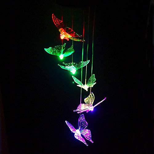 Clear Animal Solar Operated Mobile Wind Spinner Color Changing Wind Chime Light (Butterfly)