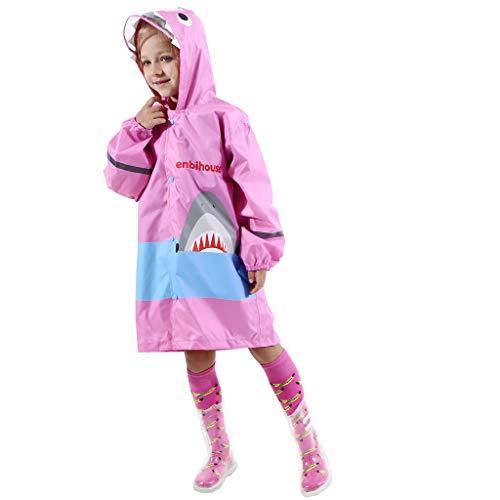 Willow S Kids Boy Girl Raincoat Rain Jacket Shark Lightweight Shark Rainwear Poncho 3D Stereo Raincoat + Storage Bag Pink