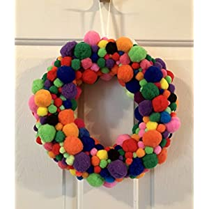 Fuzzy Rainbow Pom Pom Wreath - PomPoms Decor 42