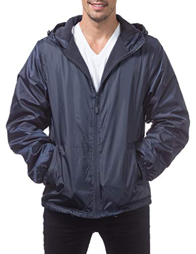 Pro Club Men's Fleece Lined Windbreaker Jacket, X-Large, Navy