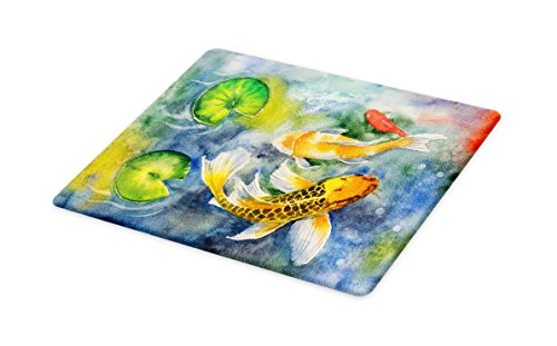 Lunarable Koi Fish Cutting Board, Lillies Marine Life Colorful Watercolor Drawing of Divine Asian Animal, Decorative Tempered Glass Cutting and Serving Board, Large Size, Violet Blue Multicolor by Lunarable