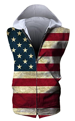 HOP FASHION Unisex Sleeveless Workout US Strips and Stars Print Hoodie Tank Tops Zipper Up Vest Tees with Front Pockets HOPM115-04-XL ()