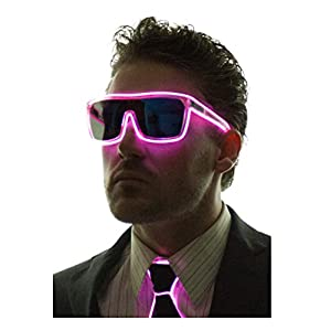 Neon Nightlife Pink Frame/ Tinted Single Lens Tron Style Light Up Glasses